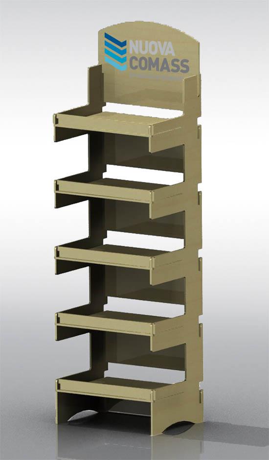 Produzione espositori in legno da terra per negozi for Piani di casa personalizzati con costo per costruire